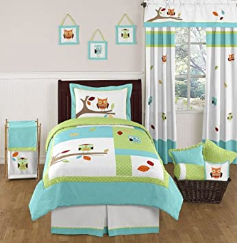 Hooty Owl Childrens and Kids Bedding Set 4 pc Twin Set