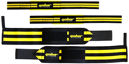 Gabor Fitness Heavy Duty Weightlifting Wrist Wraps and Straps Combo Package