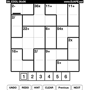 CalcuDoku (Square Wisdom Puzzles for Kindle) by DJAPE