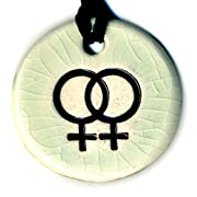Surly-Ramics Lesbian Gay Pride Pride Symbol Ceramic Pendant Necklace in Crackle