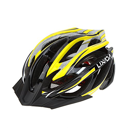 Lixada Bicycle Helmet Mtb/Road Bike Helmets Cycling Mountain Racing, Men Women Keep Safety, Adult Child Kids, with 21 Vents Adjustable Ultralight Integrally-molded, Color Yellow