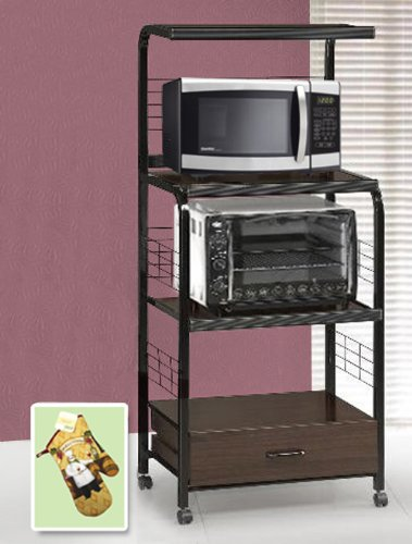 new black metal finish rolling microwave cart with power strip also includes free oven mitt purchase associated with amazon