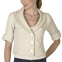 Notch-Collar Boucle Jacket - Houndstooth/ Cream