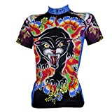 QinYing Women's Cartoon Printing Floral Short Sleeve Bicycle Cycling Jersey XS