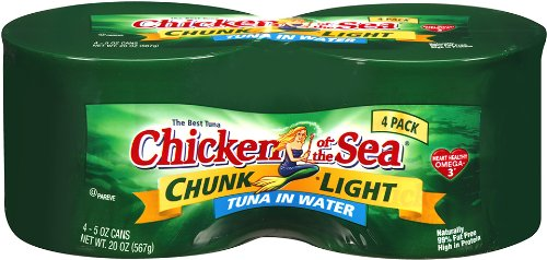 Chicken Of The Sea Tuna Chunk Light In Water 5 Ounce Cans (Pack of 4)
