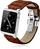 iWatchz STLLBRDYTP Timepiece Stainless Leather Watch Strap for iPod nano 6th Gen with Deploy -Brown
