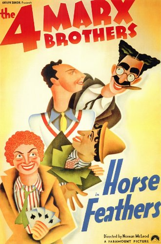 movie poster - the 4 Marx Brothers - Horse Feathers - Groucho, Chico, Harpo, Zeppo