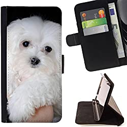 // PHONE CASE GIFT // Fashion Leather Wallet Case Stylish Credit Card & Money Pouch Protective Cover for SAMSUNG GALAXY NOTE 5 / NOTE5 / Maltese Dog White Small Longhair /