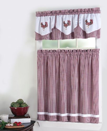 Rooster Kitchen Curtains Piece Tier Valance Set Red