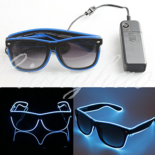 Airkoul El Wire Neon LED Light Up Shutter Shaped Glasses For Rave Costume Party