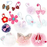 Bundle Monster 14 pc Cute Decorative Elastic Girly Dog Hair Tie Accessories - Set 2: Mixed Designs - Cutie Pie