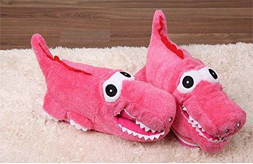 [Paws 'n' Claws] Cute Fuzzy Lovely Crocodile Winter Warm Plush Slippers, Hot Pink