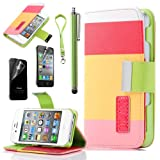 iPhone 4S Case, iPhone 4 Case, ULAK Colorful PU Leather Wallet Type Magnet Design Flip Case for Apple iPhone 4S iPhone 4 Cover with Screen Protector and Stylus (Pink+Yellow+BabyPink)