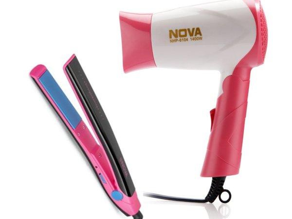 Nova Freshers Pack NHS 882 and NHP 8104 Foldable Hair Dryer (Black/Pink)
