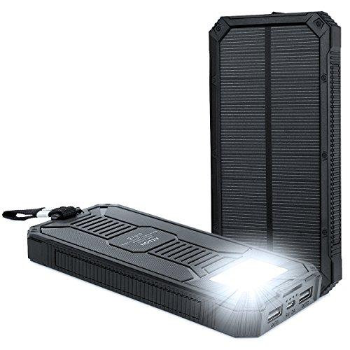 Aedon モバイルバッテリー15000mAh ソーラーチャージャー 2USB出力ポート 二つの充電方法 6個LED付き iPhone、iPad、iPod、Samsung デバイス、HTCフォン充電ができる、旅行・ハイキングや地震・災害時が必要なもの 黒色
