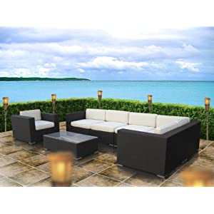 Lexington Modern Corona 7-Piece Outdoor Rattan, Espresso with White Cushion