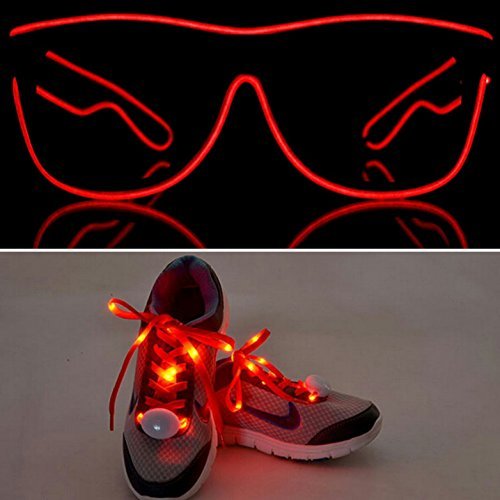 Light Up El Wire Glasses Shades And Shoe Laces – Red