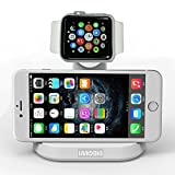 VersionTech 2 in 1 Desktop Dock Docking Cradle Holder Stand for Apple Watch iPhone Watch iWatch iPhone 6 / 6 Plus 5S 5C 5 4S Display Stand Cell Phone iWatch Charging Stand Built-in Insert Slots -White