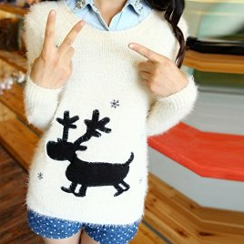 SFY Women Cartoon Print Sweater Pullover Long Sleeve Knitted Knitwear Tops