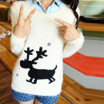 SFY Women Cartoon Print Sweater Pullover Long Sleeve Knitted