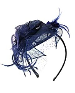 NYfashion101(TM) Cocktail Fashion Sinamay Fascinator Hat Flower Design & Net F09085 (Navy)