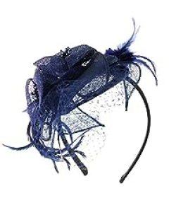 NYfashion101(TM) Cocktail Fashion Sinamay Fascinator Hat Flower Design & Net F09085 (Navy)