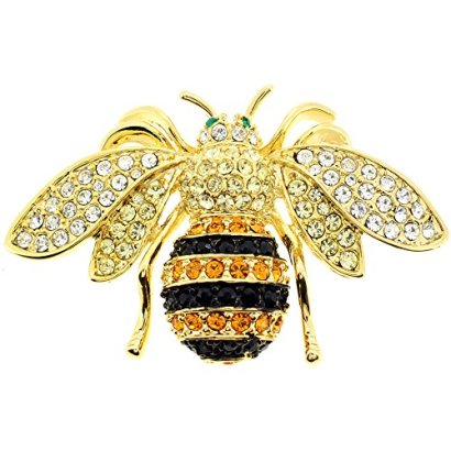 Black-And-Golden-Bee-Swarovski-Crystal-Pin-Bug-Pin-Brooch