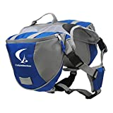 Columbustore Outdoor Adjustable Dog Saddle Bag Large Capacity Dog Backpack with Reflective Stripe (Blue, Large)