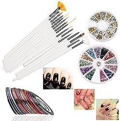 RUIMIO Nail Art Set: bestehend aus 30 Striping Tapes, 15 Nail Art Pinseln, 12 farbigen selbstklebenden Stickern, Strasssteine, Gold und Silber Nagelschmuck / Applikationen