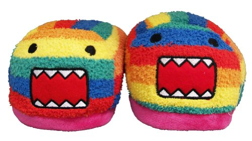 Rainbow Domo Kun Face Japan Adult Plush Womens Slippers