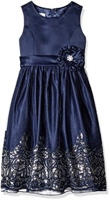 American-Princess-Girls-Toddler-Girls-Sequin-Border-Occasion-Party-Dress-Navy-2T