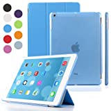 BESDATA Ultra Thin Magnetic Smart Cover & Clear Back Case for Apple iPad + Screen Protector + Stylus + Cleaning Cloth (Blue, Pad Air (5th Gen))