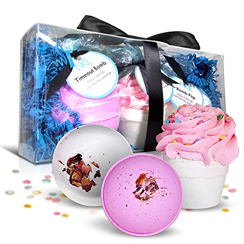 Bath Bombs Set - Large Fizzies With Shea Butter & Essential Oil Soaps - Natural Lush Ingredients And A Cupcake Bomb With An Exfoliator Moisturizer For Dry Skin - Spa Balls Made In USA - A Great Gift