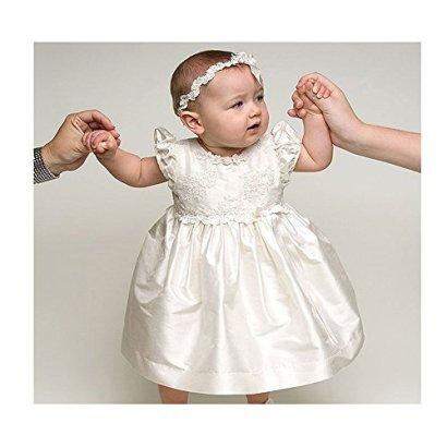 Baby-Girls-Christening-Baptism-Dress-Gown-White-Communion-Dress