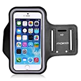 MoKo Sports Armband for iPhone 6 Plus, Samsung Galaxy Note 4 / 3 / 2, Droid Turbo and LG G3 - Key holder Slot, Perfect Earphone Connection while Workout Running, BLACK (Compatible with Cellphones up to 5.7 Inch)