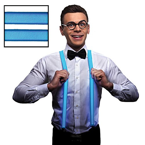 Blue LED Light Up Suspenders