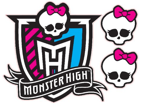 "Monster High Crest Removable Wall Sticker 7"" Inches Tall By 6"" Inches Wide with 2 Free Skullettes"
