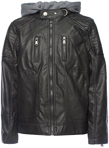 Urban Republic Big Boys' Faux Leather Moto Jacket With Zips 5/6 Charcoal