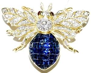 18K Yellow Gold Blue Sapphire Bee Brooch/Pin Diamond Jewelry