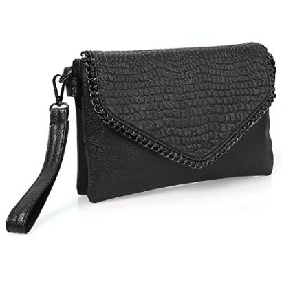 BMC-Womens-Textured-Faux-Leather-Metal-Accent-Multi-Compartment-Clutch-Handbag