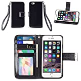 IZENGATE Apple iPhone 6 (4.7 inch) Wallet Case - Executive Premium PU Leather Flip Cover Folio with Stand (Black)
