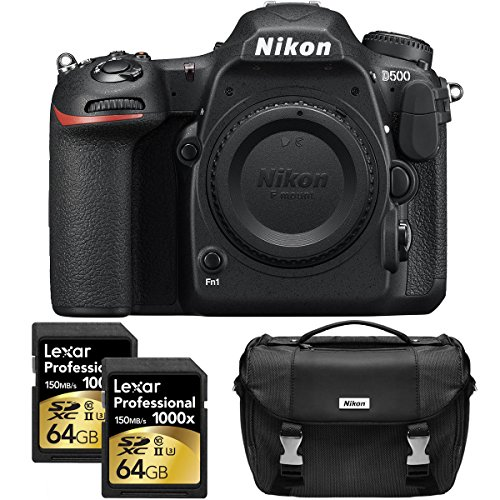 Nikon D500 20.9 MP CMOS DX Format Digital SLR Camera with 4K Video (Body) Includes Dual Lexar 64GB Professional 1000x SDXC Memory Cards and Nikon Deluxe DSLR Camera Bag