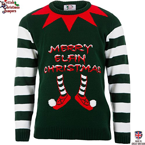 Elfin Christmas Green - Mens Christmas Sweater by British Christmas Jumpers (XL)
