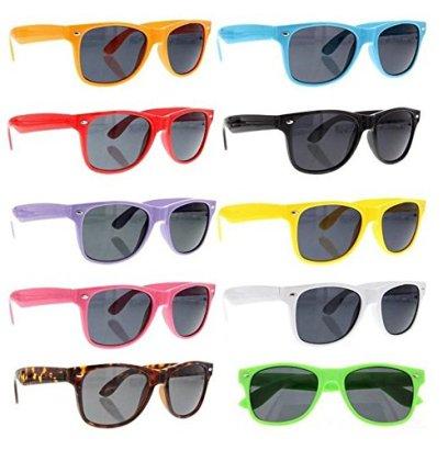 SCLM-Wayfarer-80s-Style-Sunglasses-10-Bulk-Pack-Lot-Neon-Color-Party-Glasses
