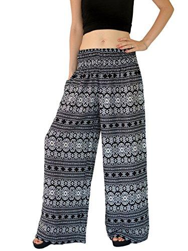 Orient Trail Women's Aztec Tribal Design Yoga Wide Leg Harem Pants Black US Size 4-18