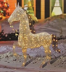 "Amazon.com : 60"" Elegant Glittered Prancing Horse Lighted ... on Backyard Decorations Amazon id=14992"