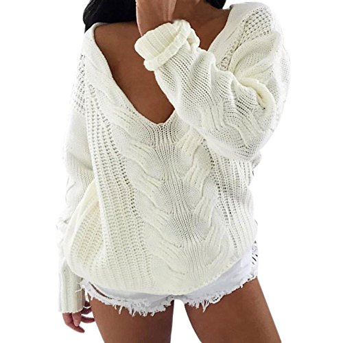 Switchali Frauen lange Hülsen Strickjacke Pullover lose Überbrücker Strickwaren Outwear Weiß