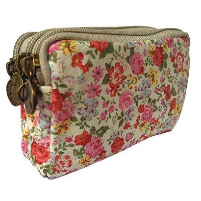 HLBiuty-Girls-Womens-Canvas-Floral-Zip-Mini-Wallet-3-Layers-Coin-Purse-White-Orange