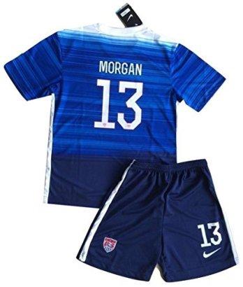 Alex-Morgan-13-KidsYouth-USA-National-Away-Jersey-Shorts-Ages-9-10