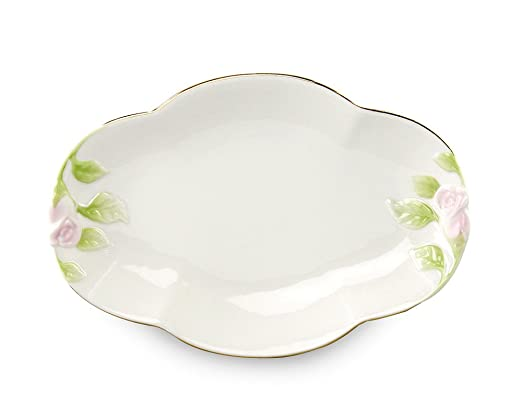 Gracie China 10-Inch Porcelain Hand Painted Rose Bud Oval Platter